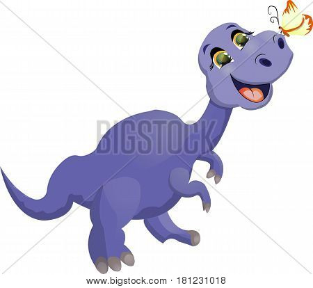 a dinosaur with a butterfly on his nose singing a cheerful song