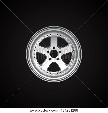 Realistic alloy wheel on black. Vector illustration