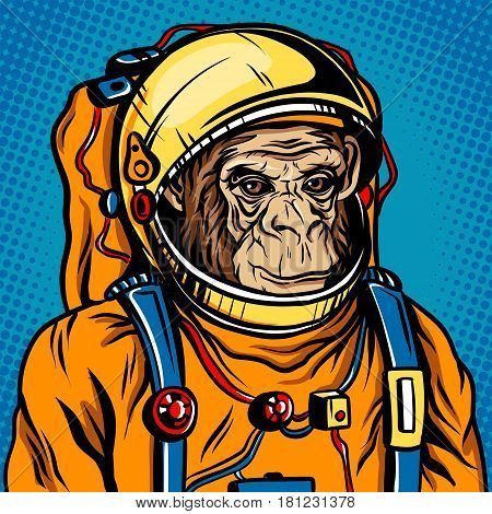 Astronaut monkey in space suit retro vector illustration. Comic book style imitation.