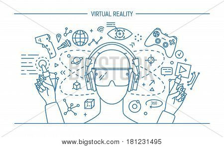 virtual reality lineart banner. contour vector illustration.