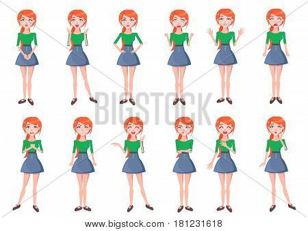 Woman positive and negative emotions set. Beautiful redhead female characters with various face expressions standing in different poses isolated flat vector. Emotional young girl cartoon illustrations