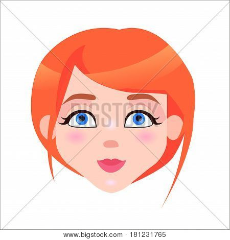 Young woman calm face icon. Pretty redhead girl with flush and blue eyes composure facial expression isolated flat vector. Female cartoon portrait illustration for women positive emotions concept