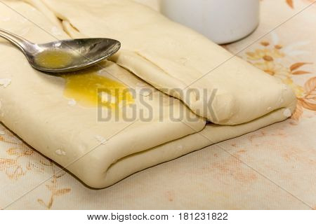 Spoon With Margarine On The Dough