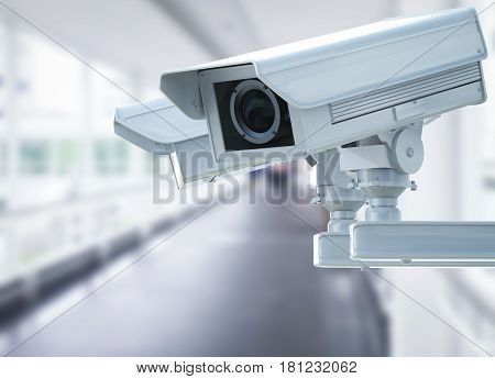 Cctv Camera Or Security Camera On Corridor Background