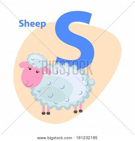 Character S cheerful sheep on ABC for children isolated on white. Curly lamb with pink face on alphabet kids icon. Vector illustration for kindergarten or nursery school cartoon style web banner.