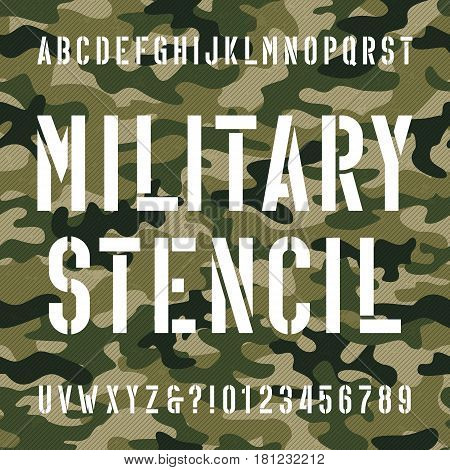 Military stencil alphabet font. Type letters and numbers on distressed camo seamless  background. Vector typography for your design.