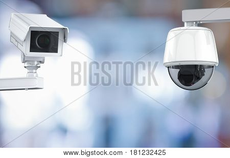 Cctv Camera Or Security Camera On Retail Shop Blurred Background