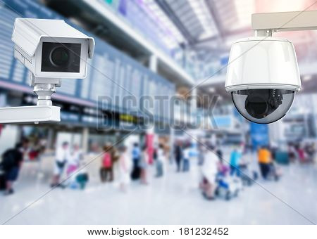 Cctv Camera Or Security Camera On Airport Background