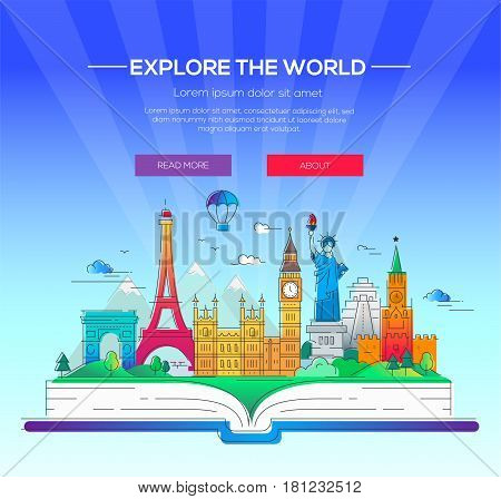 Around the world - modern vector line travel illustration. Discover Russia, England, USA, France. Have a trip, enjoy your vacation. Be on a journey.Landmarks on a book - statue of liberty, kremlin, tower