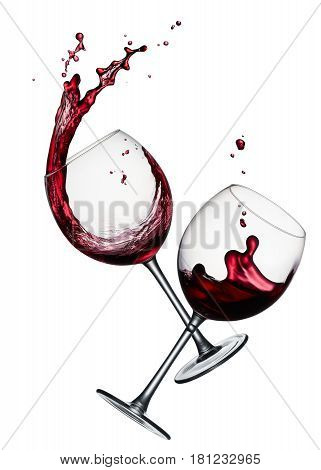 two glasses of splashing red wine isolated on white