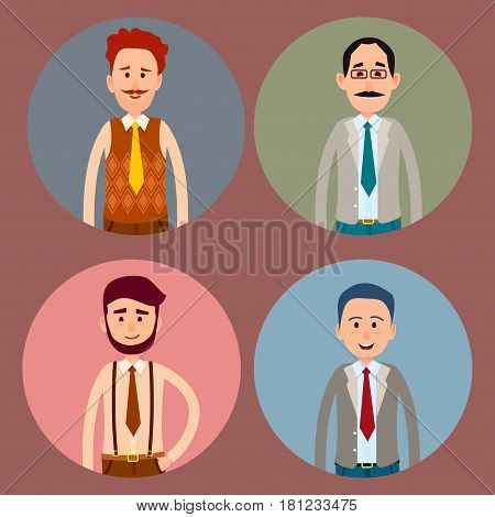 Men character four round colorful icons collection. Vector poster of circles with isolated male people with ties and in shirts portraits in circles with blue, pink, green and grey backgrounds.