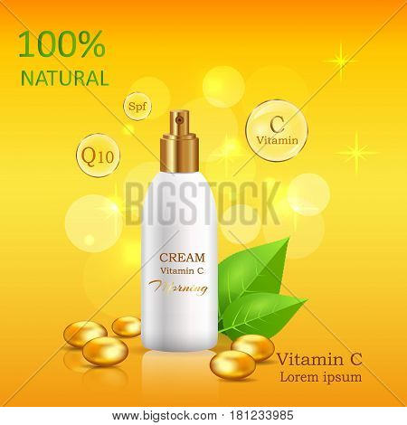 Natural cream enriched vitamins in glossy tube near fresh green leaves and gold pebble vector banner. Cosmetic skincare product illustration on gradient background with sparkles and bokeh lights