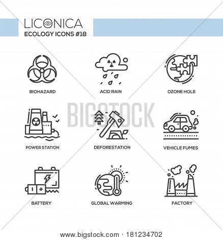 Ecology - black and white vector modern single line icons set. Biohazard sign, acid rain, ozone hole, power station, earth, deforestation, axe, vehicle fumes, battery, global warming, pollution, factory.
