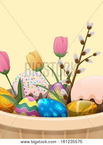 Set of easter cake, painted eggs, spring flowers and branch of willow in beige basket isolated on white. Festive goody with whitey glaze and various drops. Vector illustration flat design web banner.