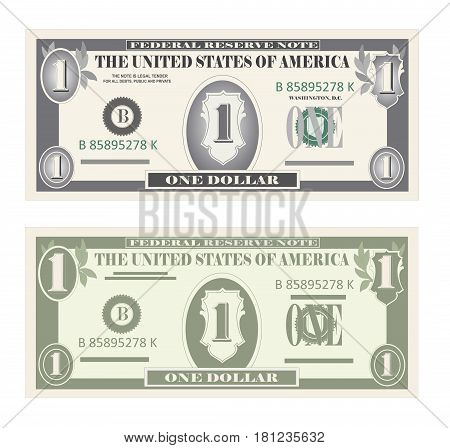 USA banking currency, cash symbol 1 dollar bill. Money set, paper banknotes one dollar.  Vector illustration in simple, flat style in two variants. Isolated on white background. Vertical location.