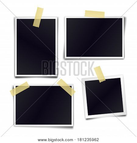Collection of blank photo frames sticked on duct tape to white background. Template mockups for design. Vector illustration