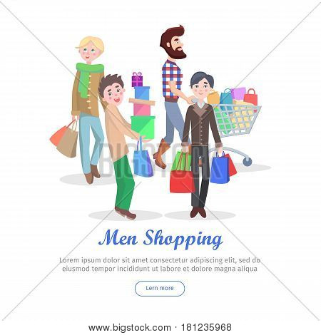 Men shopping conceptual banner. Group of male characters with trolley, paper bags and boxes buying gifts vector illustrations on white background. Holiday shopping concept for sale promotions web page