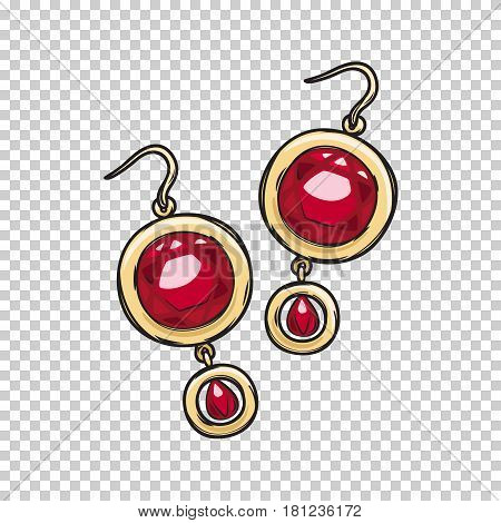 Luxurious gold earrings with natural ruby stone isolated on transparent background. Gorgeous accessory for evening dress. Expensive women jewelry vector illustration. Vintage eardrops for night out.