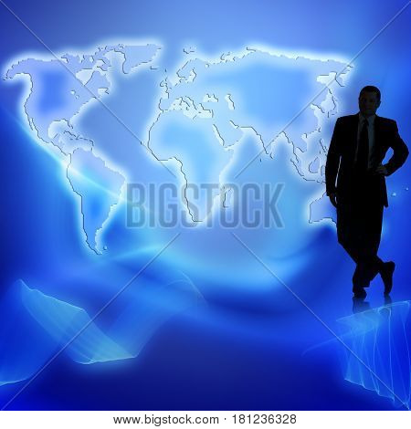 silhouette of a businessman on world map background