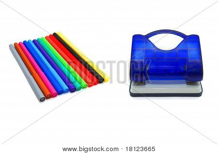 Hole puncher and soft-tip pens