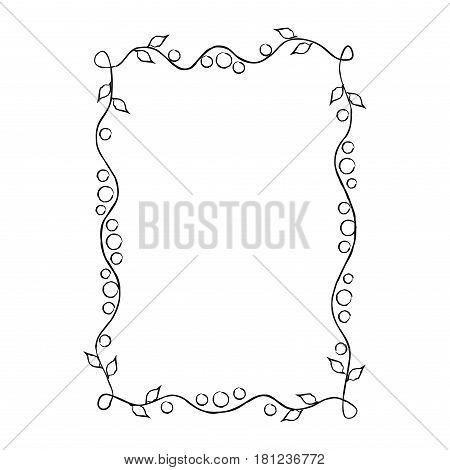 Black thin frame with floral ornament isolated on white background. Elegant wavy framing vector illustration. Vintage drawn framework with rounded angles, small leaves outline and triple circles.