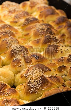 Fresh And Hot Baked Rolls On The Plate