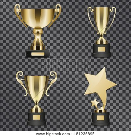 Goblets for successful contest participation and epic win vector illustration. Golden trophy cups for outstanding sport, music and acting achievements isolated on black transparent background.