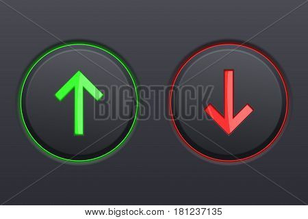 Black round buttons. UP and DOWN green and red push buttons. Vector 3d illustration