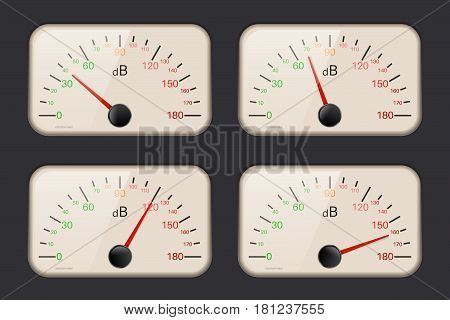 Decibel meters on dark background. Vector illustration