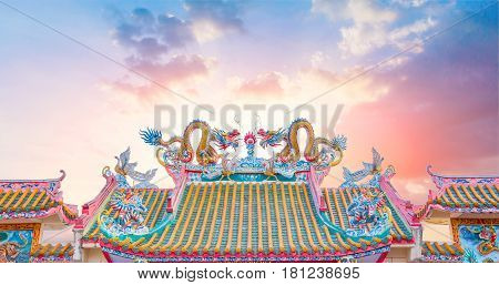 Chinese temple roof china ancient shrine architecture with beautiful sky and copy space.