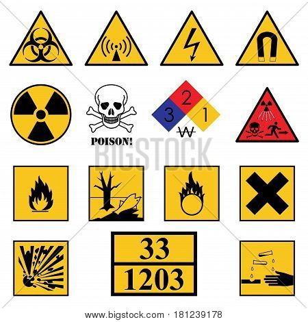 Set of warning danger signs on a white background.