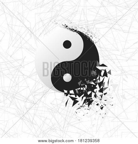 Tai chi explosion. Vector yin yang symbol.