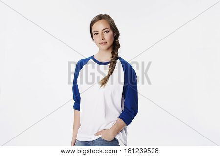 Beautiful woman in raglan sweatshirt portrait studio shot