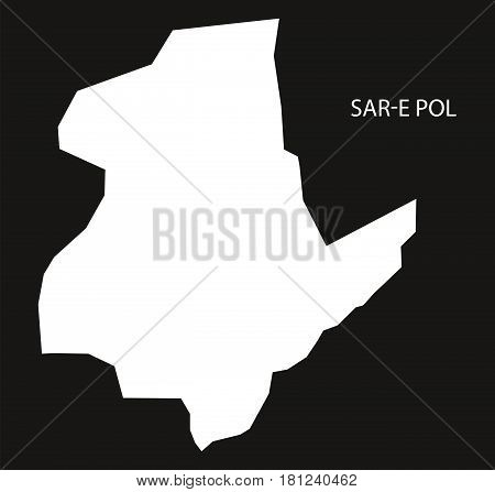 Sar-e Pol Afghanistan Map Black Inverted Silhouette Illustration