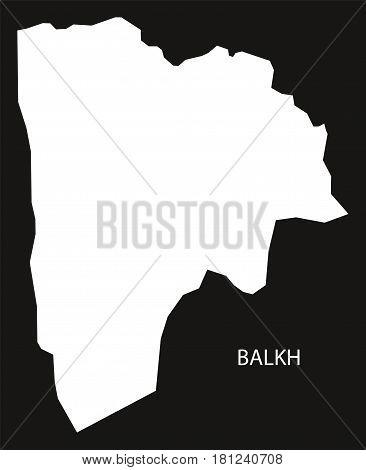 Balkh Afghanistan Map Black Inverted Silhouette Illustration