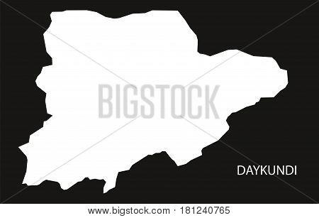 Daykundi Afghanistan Map Black Inverted Silhouette Illustration