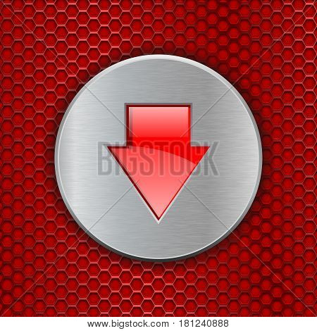 Red perforated background with DOWN arrow button. Vector 3d illustration