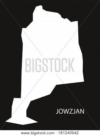 Jowzjan Afghanistan Map Black Inverted Silhouette Illustration