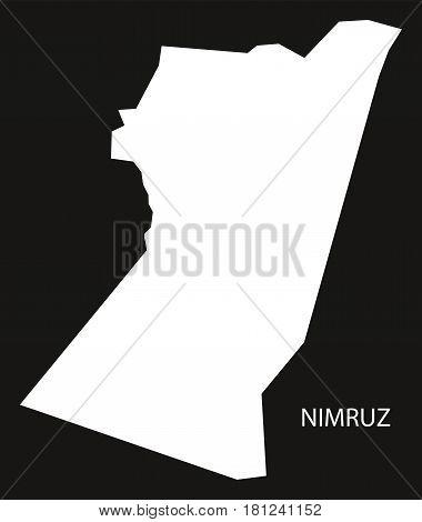 Nimruz Afghanistan Map Black Inverted Silhouette Illustration