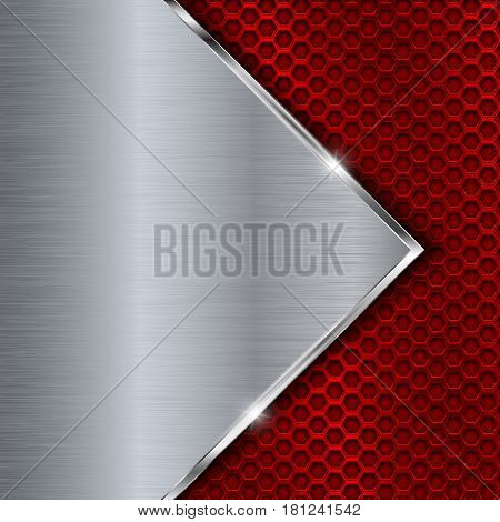 Red metal perforated background with perforation. Vector 3d illustration