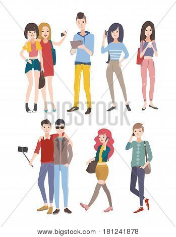 Set young people, guys and girls, communicating by phone and other gadgets. Colorful flat illustration