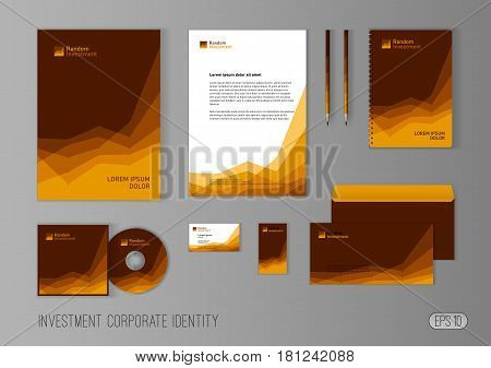 Corporate identity template for investment company, modern stationery template design stylized with charts for investment business. Brochure cover, letterhead, envelope, business card, pen, CD cover.