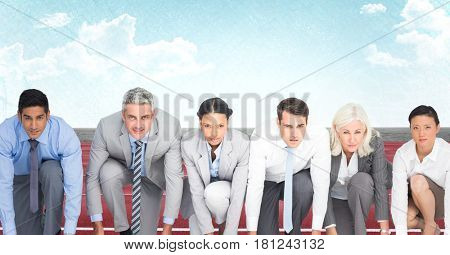 Digital composite of Business people on track against sky