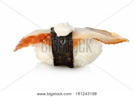 Unagi sushi isolated on a white background