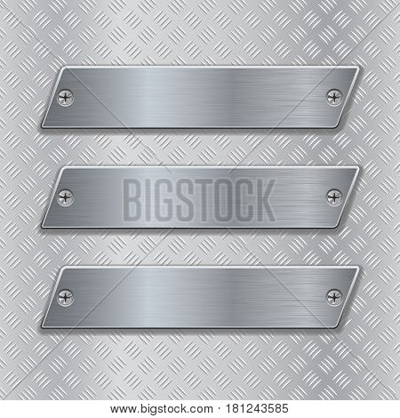 Metal brushed plates on non-slip metallic surface. Vector 3d illustration