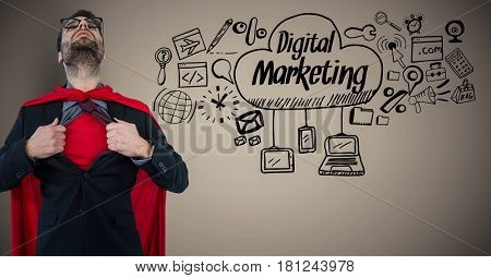 Digital composite of Business man superhero opening shirt against brown background with digital marketing doodles