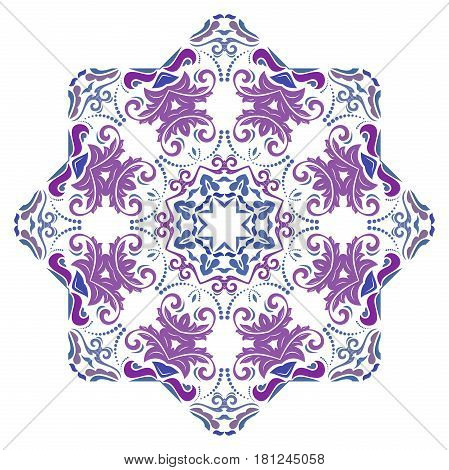 Oriental vector colorful pattern with arabesques and floral elements. Traditional classic ornament. Vintage pattern with arabesques