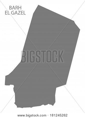 Barh El Gazel Chad Region Map Grey Illustration Silhouette