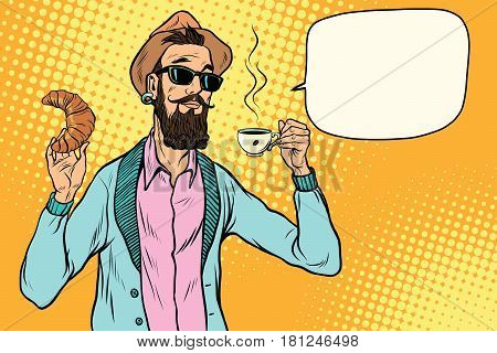 Hipster with coffee and croissant. Pop art retro vector illustration