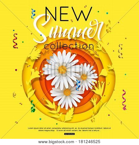 New summer collection background with daisy for poster, banner, fliyer. Paper flowers cut style, shapes. Beautiful vector illustration.